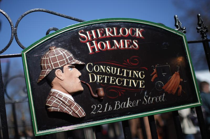A general view of the sign outside the former home of the fictional Character Sherlock Holmes on March 26, 2012 in London, England.