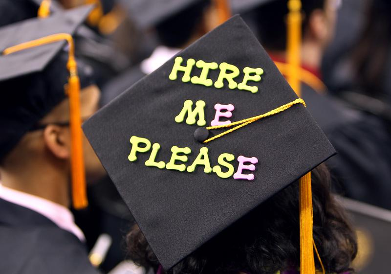 Northeastern University held its commencement ceremony at TD Garden on Friday. Some students sported decorations on their caps.