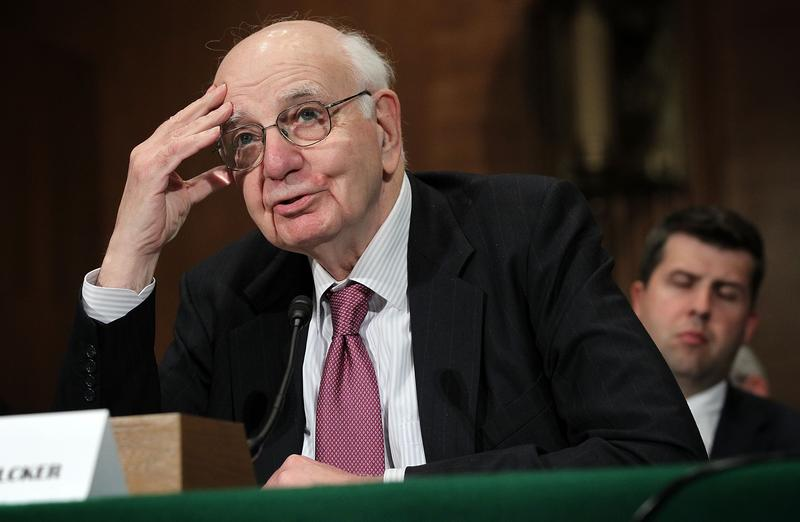 Former Federal Reserve Board Chairman Paul Volcker testifies during a hearing before a Senate committee. May 9, 2012