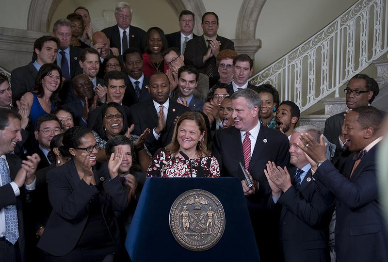 Speaker Melissa Mark-Viverito and Mayor Bill de Blasio announce FY15 budget agreement on June 19, 2014