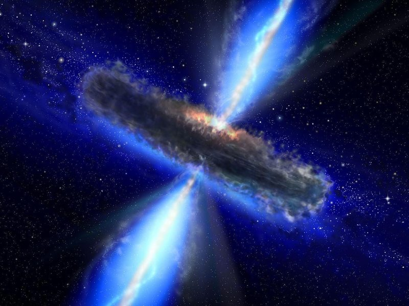 In this handout from NASA/ESA, an artist's concept illustrates a quasar, or feeding black hole.