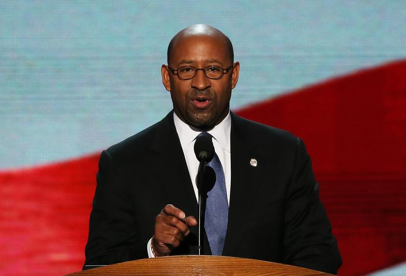 Mayor of Philadelphia Michael Nutter speaks on stage during the final day of the Democratic National Convention at Time Warner Cable Arena on September 6, 2012 in Charlotte, North Carolina.