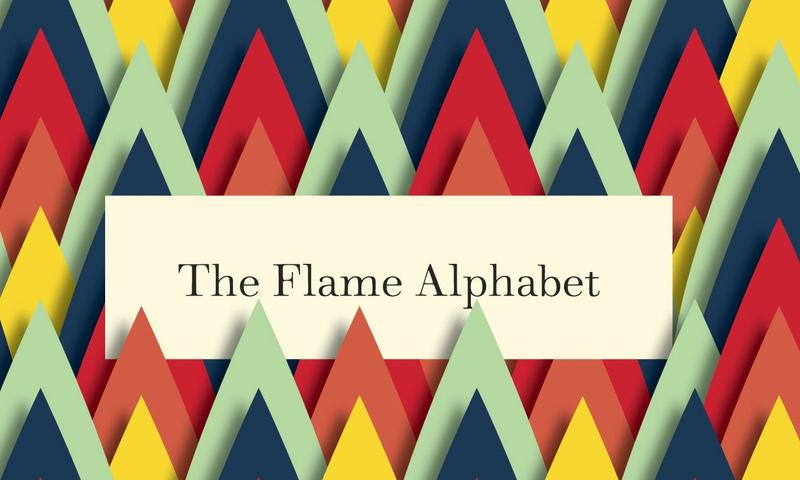 """A detail of the cover of """"The Flame Alphabet"""""""