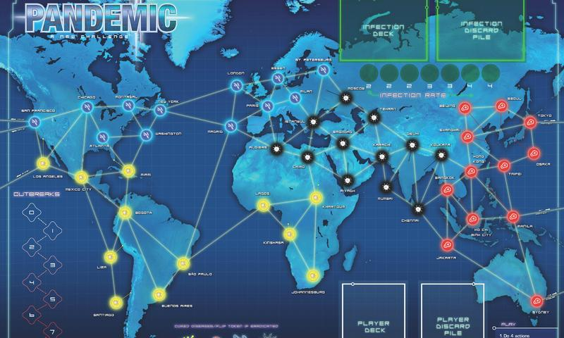 The game board of Pandemic