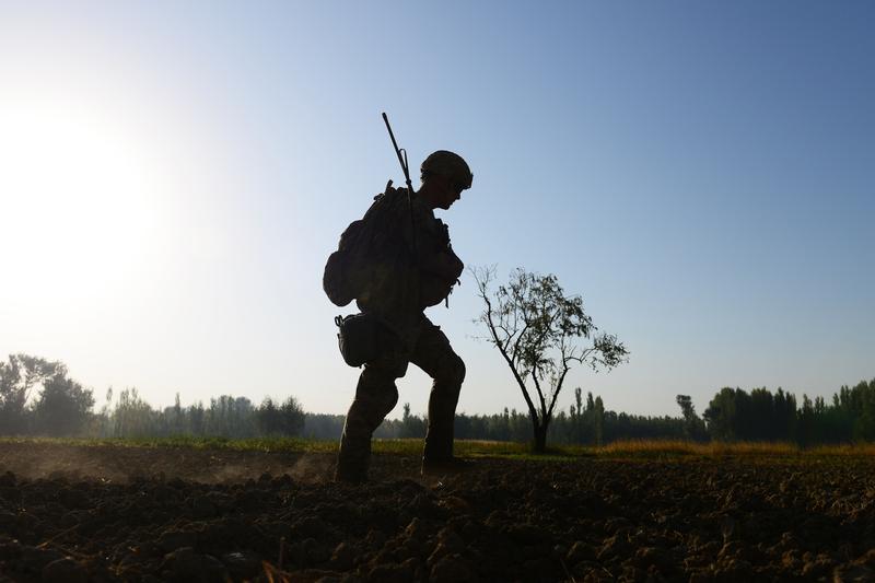 A US Army soldier patrols near Baraki Barak base in Logar Province, on October 13, 2012.