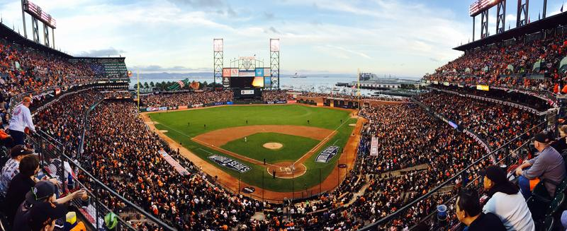 Fans at AT&T Park, home of the San Francisco Giants, during Game 4 of the 2014 World Series, October 25, 2014.