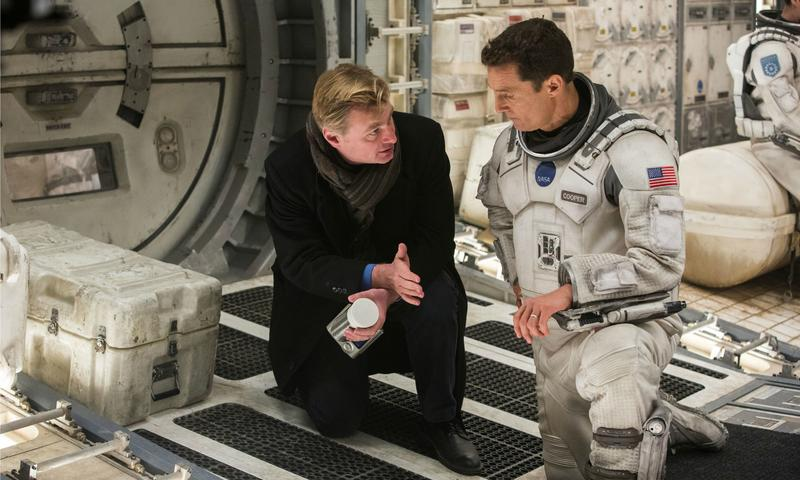Christopher Nolan with Matthew McConaughey on the set of <em>Interstellar</em>