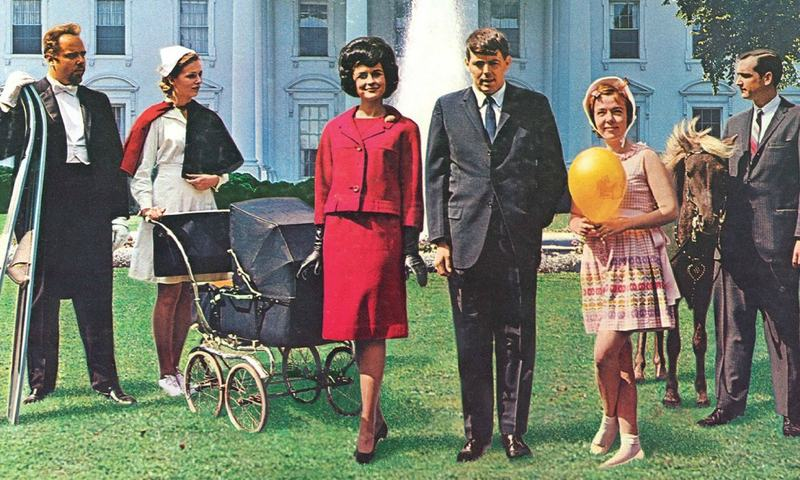 A detail from the cover of the 1962 comedy album <em>The First Family</em>