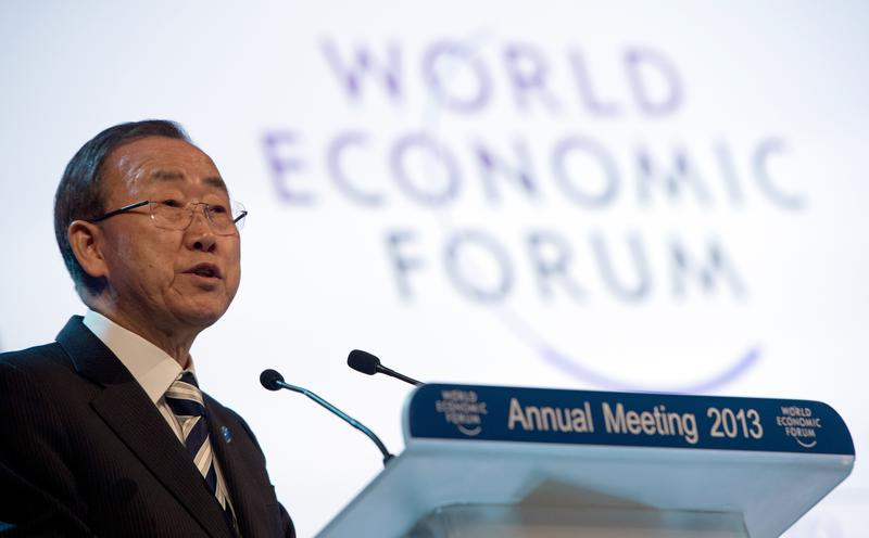 United Nations Secretary General Ban Ki-moon speaks during a session of the 2013 World Economic Forum Annual Meeting on January 24, 2013 at the Swiss resort of Davos.