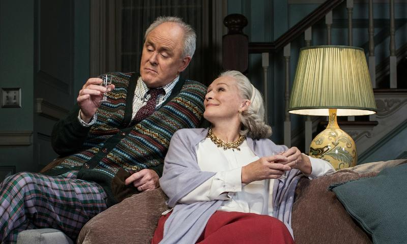 Glenn Close (R) with John Lithgow (L) in Edward Albee's <em>A Delicate Balance</em>
