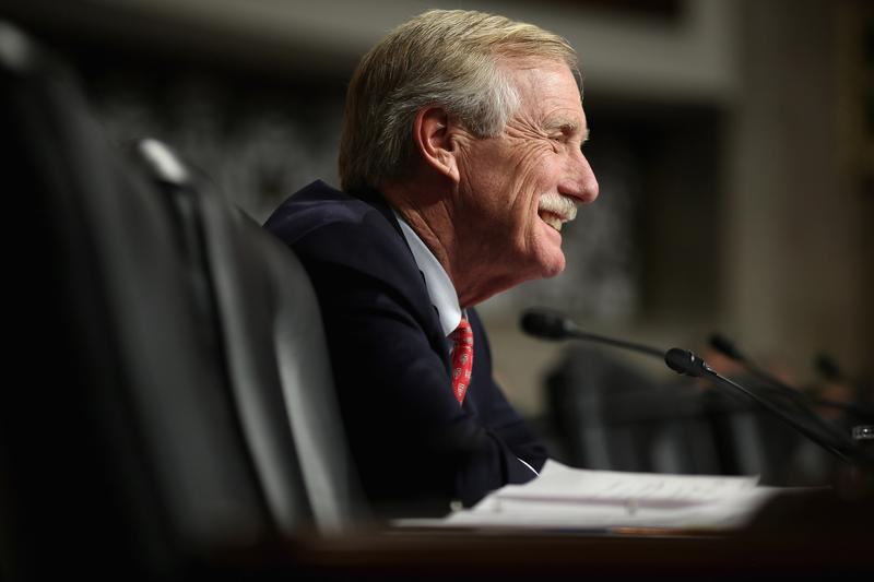 Senate Armed Services Committee member Sen. Angus King (I-ME) questions former U.S. Senator Chuck Hagel (R-NE) during his confirmation hearing to become the next secretary of defense on Capitol Hill.