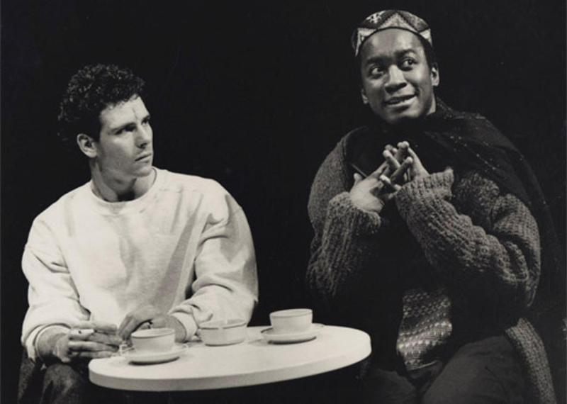 Marcua D'Amico as Louis and Joseph Mydell as Belize in the National Theatre's 1992 production of Millennium Approaches