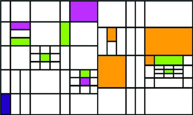 A javascript rendering of Piet Mondrian's artwork, generated by the website Vart