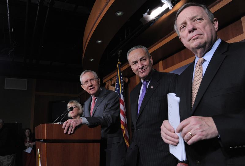 Charles Schumer, Senate Majority Leader Harry Reid, and Senate Majority Whip Richard Durbin, hold a news conference at the U.S Capitol on the eve of the budget sequester.