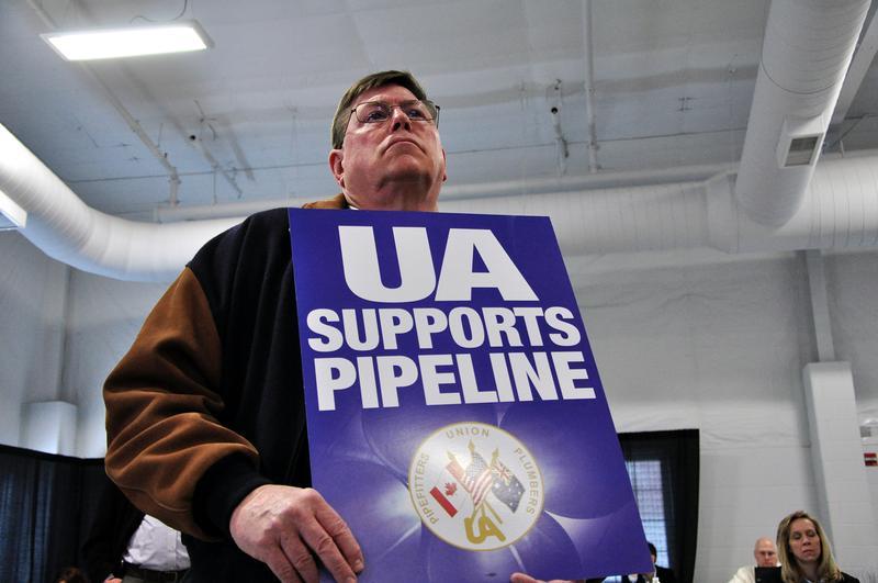 A union member attends a public hearing on the Keystone Pipeline on April 18, 2013 in Grand Island, Nebraska.