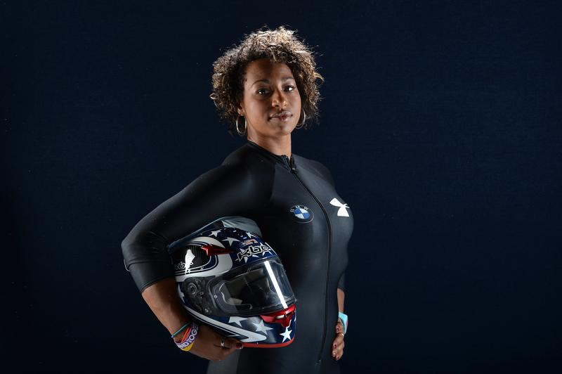 Bobsled driver Jazmine Fenlator poses for a portrait during the USOC Portrait Shoot on April 26, 2013 in West Hollywood, California.