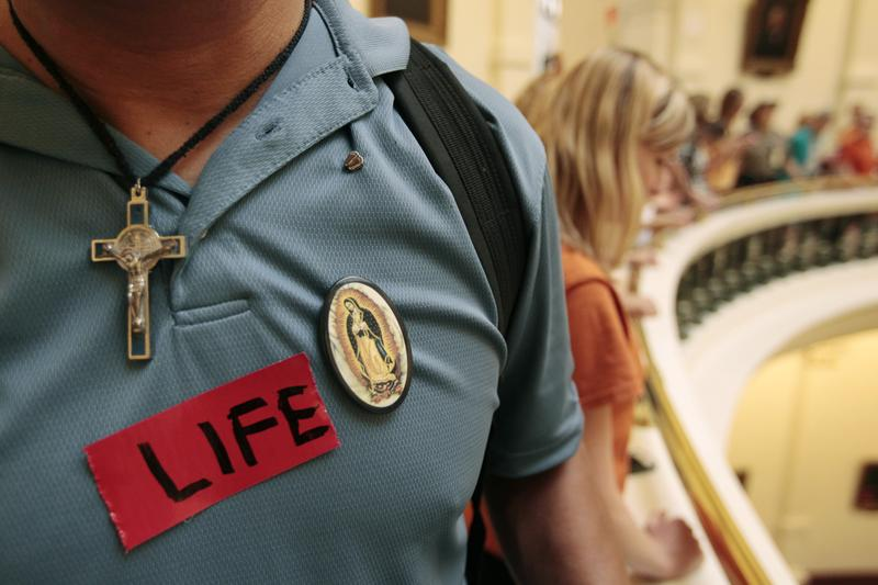 A pro-life supporter in the Texas State capitol on July 1, 2013 in Austin, Texas.