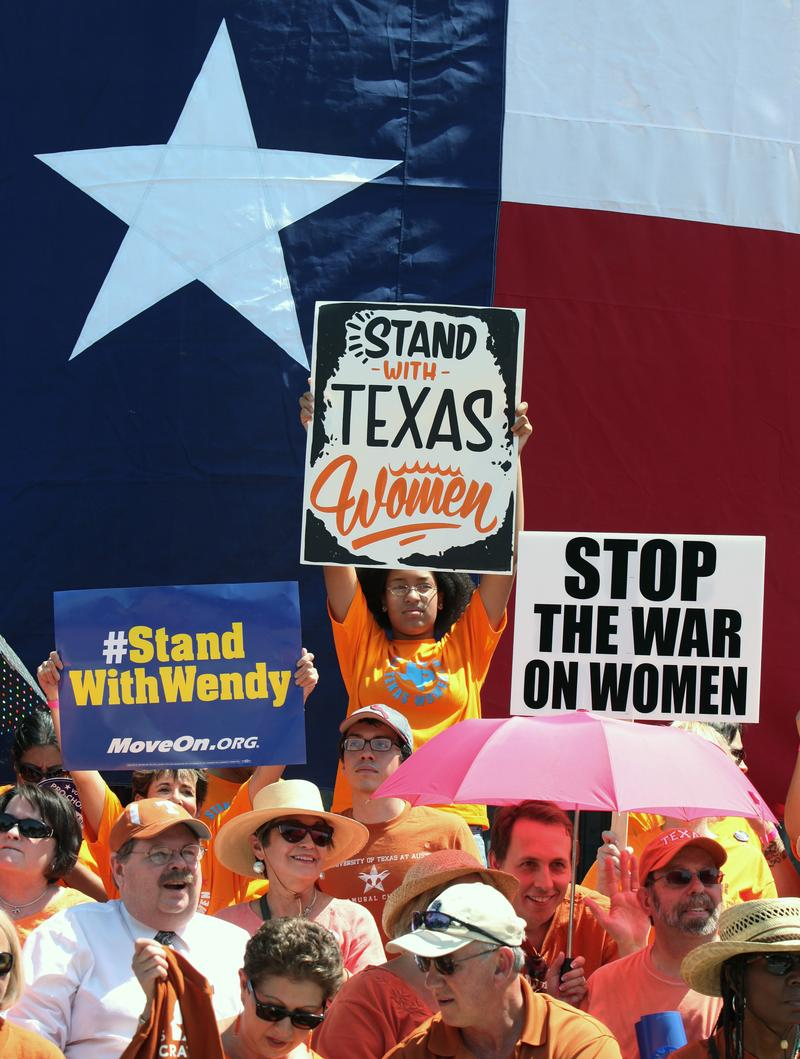 Supporters of Texas women's right to reproductive decisions rally at the Texas State capitol on July 1, 2013 in Austin, Texas.