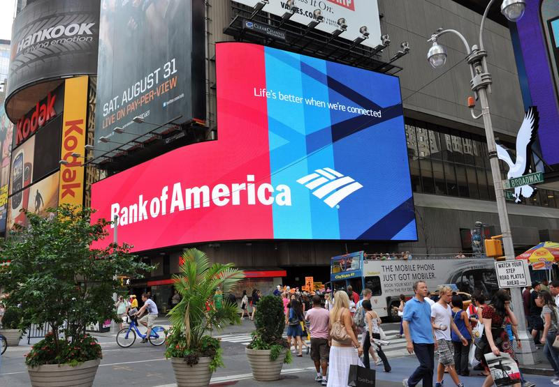 A Bank of America branch August 20, 2013 in New York's Times Square.