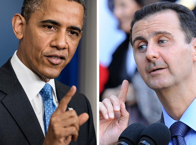 US President Barack Obama (L) speaking to journalists on April 30, 2013 in Washington and Syrian President Bashar al-Assad speaking to journalists on December 9, 2010 in Paris.