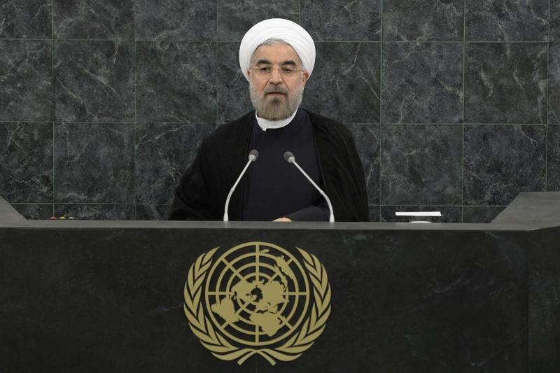 Iranian President Hassan Rouhani addresses the U.N. General Assembly on September 24, 2013 in New York City