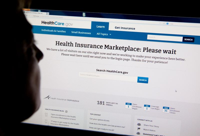 A woman looks at the HealthCare.gov insurance exchange internet site October 1, 2013 in Washington, DC.