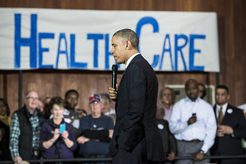 President Barack Obama pauses while speaking at Temple Emanu-El November 6, 2013 in Dallas, Texas. Obama spoke about the Affordable Care Act amid technical problems.