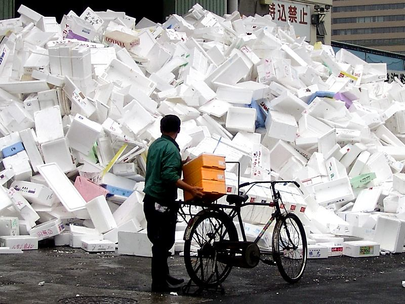 A pile of trash outside the Tokyo fish market.