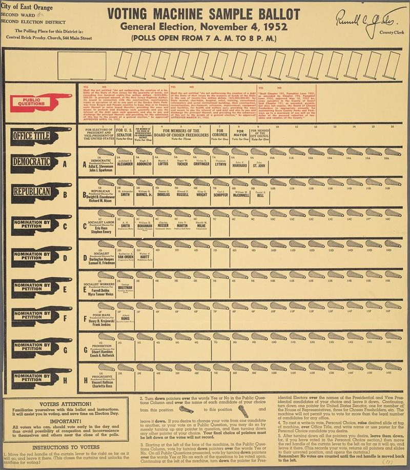 Darlington Hoopes listed among the candidates on the 1952 voting machine sample ballot.