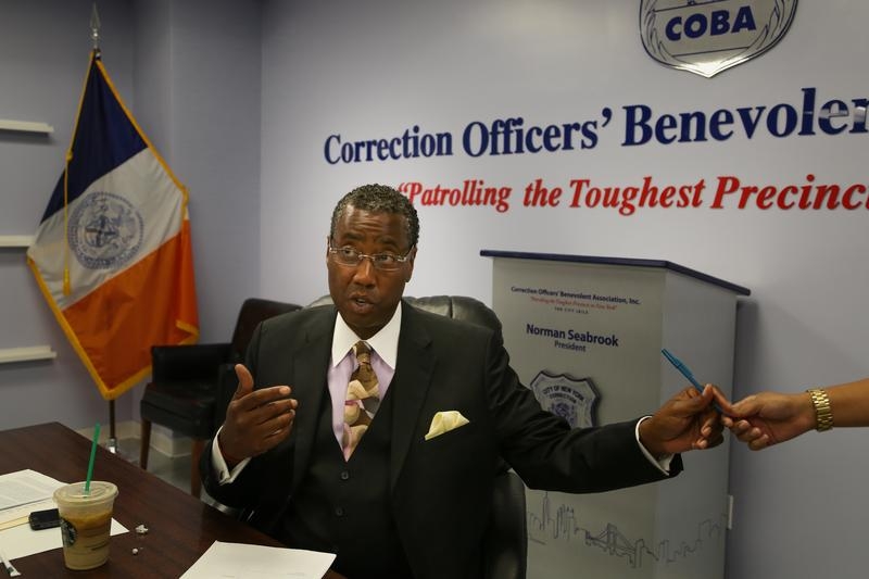 Norman Seabrook at the downtown offices of the Correction Officers Benevolent Association. The powerful union leader goes to great lengths to defend his members.