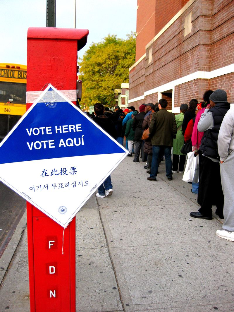 Waiting in line to vote in Brooklyn, in the 2008 election.