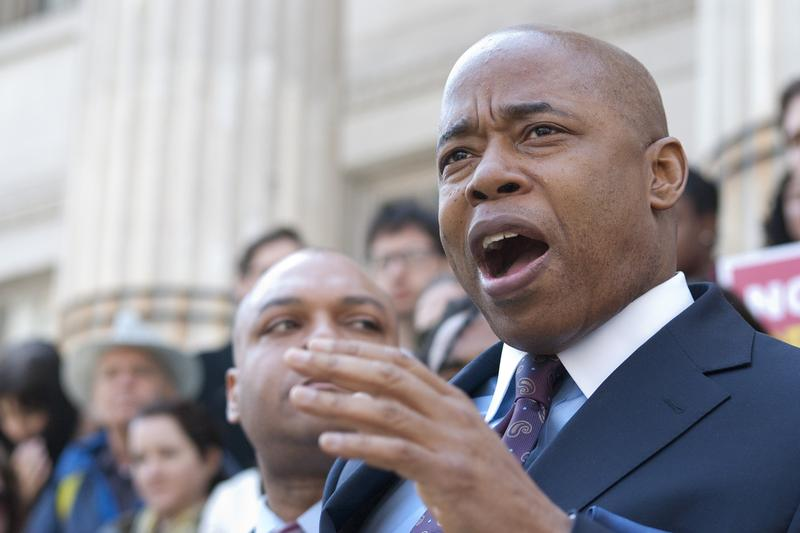 Brooklyn Borough President Eric Adams speaks at a rally supporting a proposal to stop prosecution of low-level marijuana possession on the steps of Brooklyn Borough Hall on Friday, April 25.