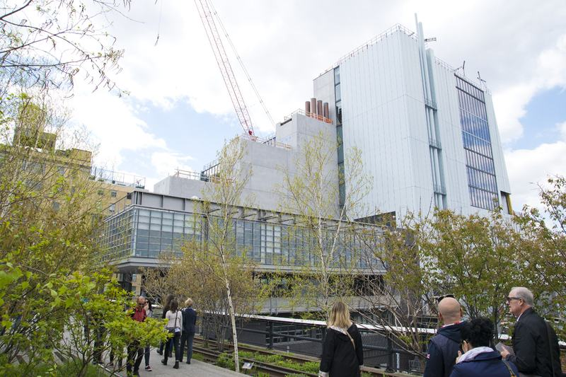 Construction continues on the new Whitney Museum of American Art building, seen from the High Line.