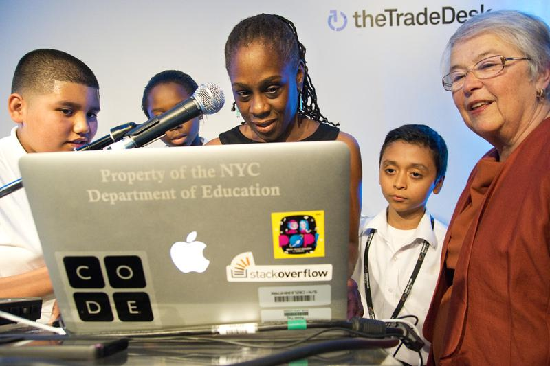 "First Lady McCray and Schools Chancellor Fariña create their own ""scratch project"" using coding. M.S. 223 students direct the two women in the project."