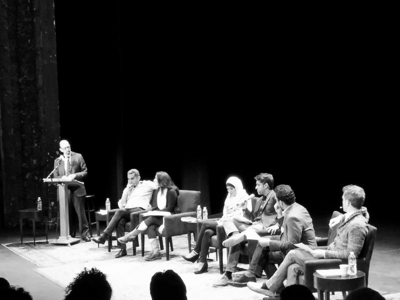 WNYC's Brian Lehrer (L) moderates a panel about Islamophobia at the BAM Harvey Theater.