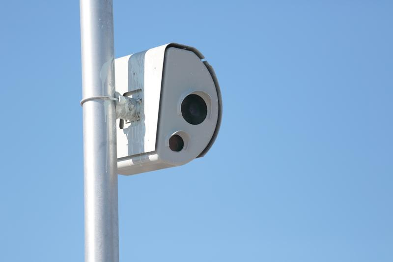 A speed camera on Shore Avenue in Brooklyn, which tracks vehicles exiting the Belt Parkway.