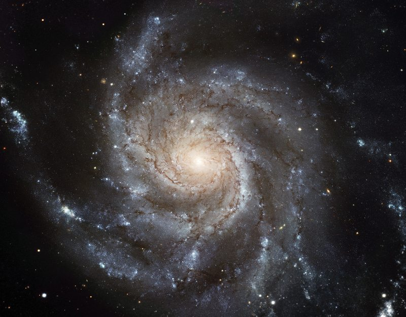 The galaxy Messier 101,  nicknamed the Pinwheel Galaxy, lies in the northern circumpolar constellation, Ursa Major (The Great Bear), at a distance of about 21 million light-years from Earth.