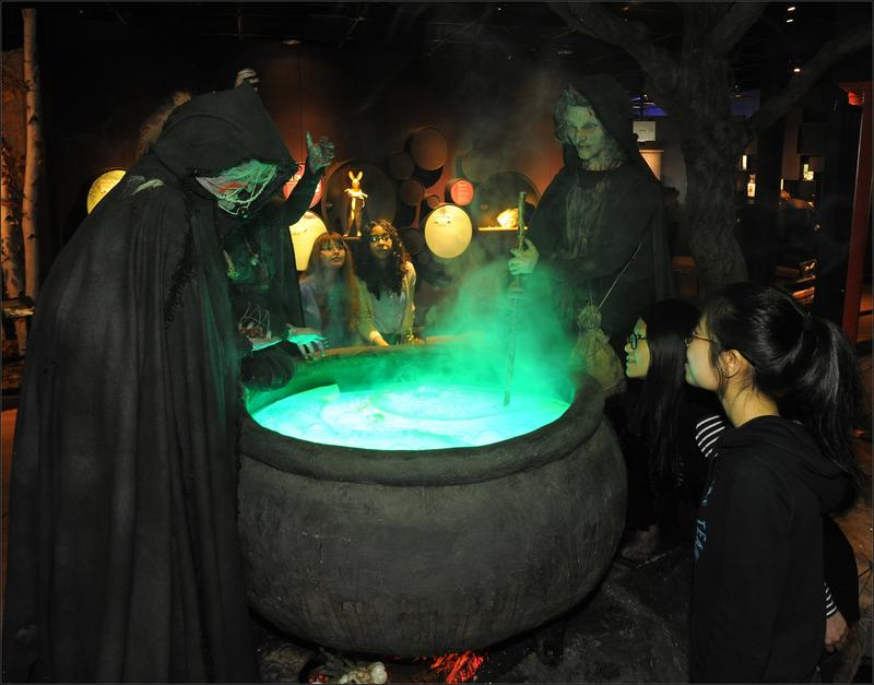 Witches brew from Macbeth This life-size diorama re-creates a famous scene in William Shakespeare's Macbeth that features a trio of witches dropping gruesome ingredients into a boiling cauldron.
