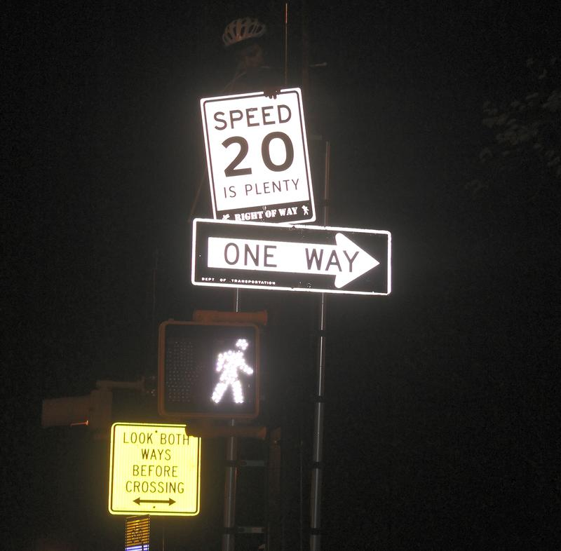 A 20mph sign in Brooklyn, installed by safe streets activists