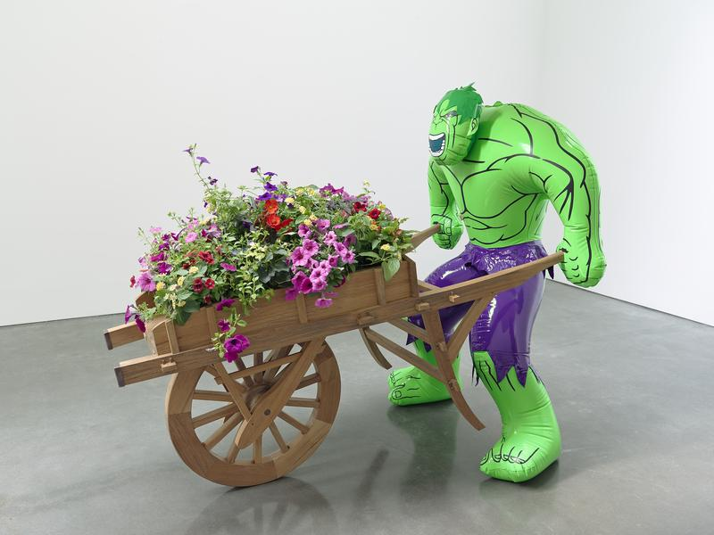 Hulk (Wheelbarrow), 2004-2013. polychromed bronze, wood, copper, and live flowering plants