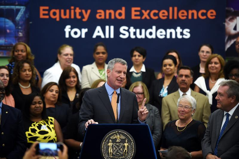 Mayor Bill de Blasio at an Aug. 1 press conference on New York City students' state test scores