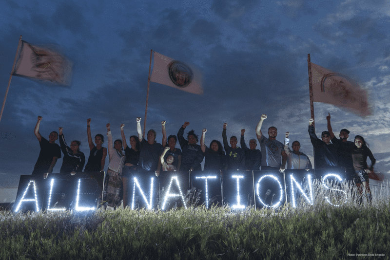 Native protesters standing against the Dakota Access Pipeline at the Sacred Stone Camp, September 2, 2016.