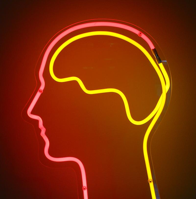 A neon sign of a brain.