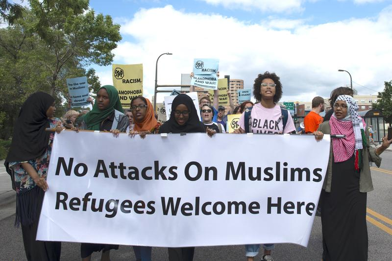 About 200 people gathered in east Minneapolis for a rally and march to to denounce hate speech and hate crimes against Muslims. Sept. 17, 2016