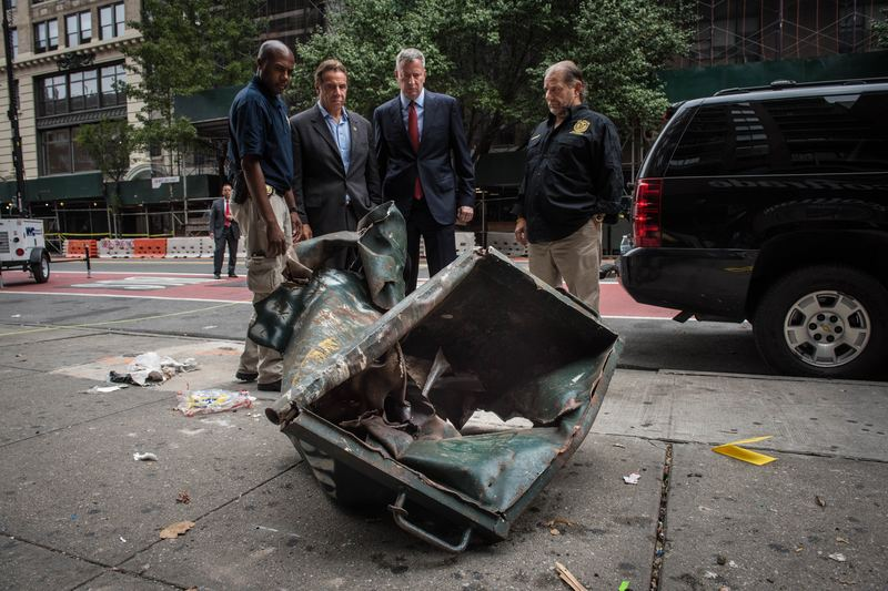 Mayor Bill de Blasio and Governor Andrew Cuomo tour 23rd Street and the site of last night's explosion in Chelsea in Manhattan. Sunday, September 18, 2016.