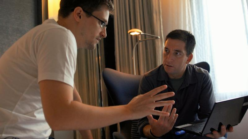 "Edward Snowden and Glenn Greenwald in Hong Kong, from ""Citizenfour,"" a film by Laura Poitras."