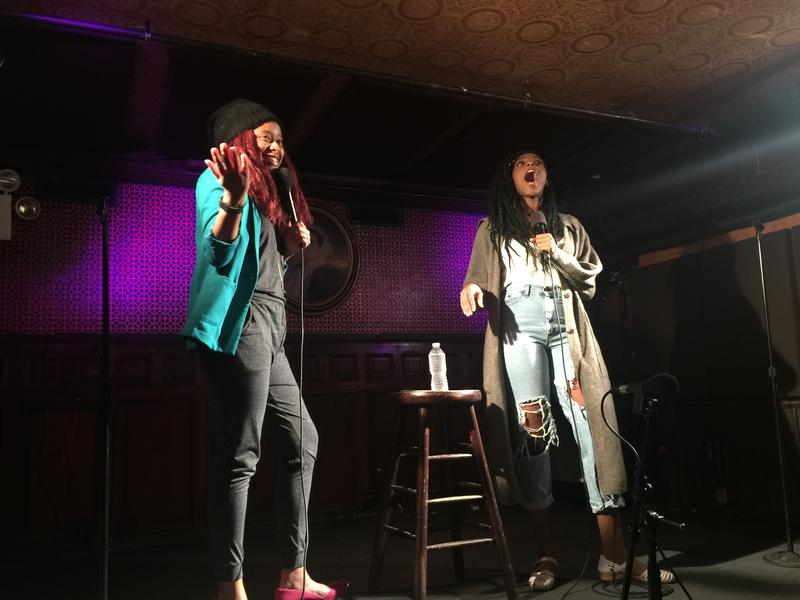 Phoebe Robinson and Jessica Williams live in Brooklyn recording 2 Dope Queens podcast.