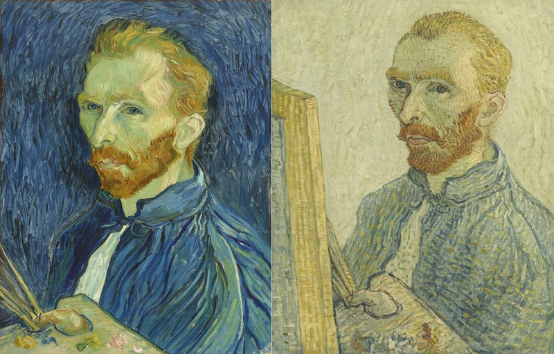 Left: Vincent van Gogh, Self-portrait, 1889, oil on canvas. Right: Anonymous, Portrait of Vincent van Gogh, 1925 / 1928, oil on canvas