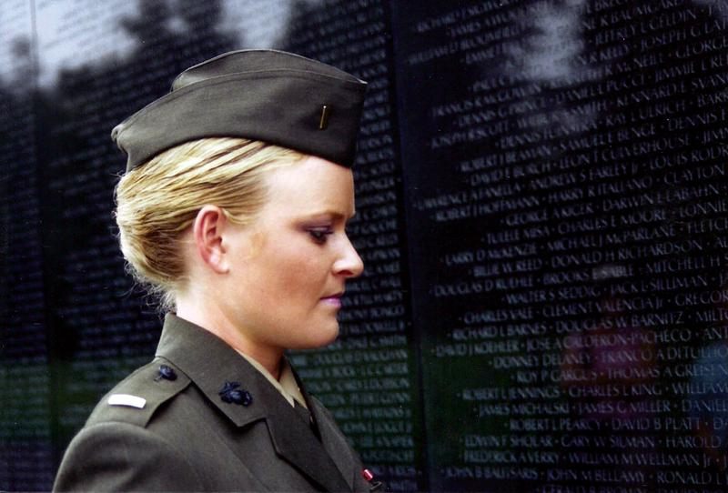 Lieutenant Elle Helmer at the Vietnam War Memorial, US Marine Corps, from THE INVISIBLE WAR