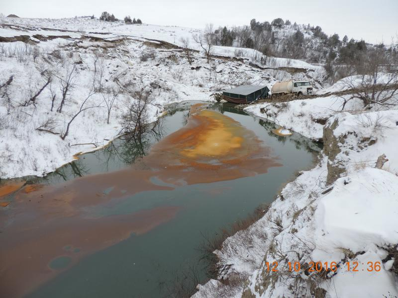 An oil spill discovered Monday, Dec. 5, 2016 located approximately 16 miles northwest of Belfield, North Dakota.